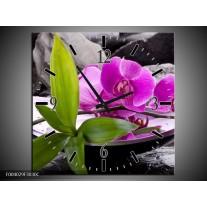 Wandklok op Canvas Orchidee | Kleur: Zwart, Roze, Grijs | F004029C