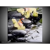 Wandklok op Canvas Orchidee | Kleur: Geel, Zwart, Wit | F004030C