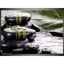 Glas schilderij Stenen | Groen, Zwart, Wit