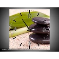 Wandklok op Canvas Stenen | Kleur: Bruin, Groen, Geel | F004040C