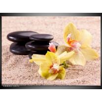 Foto canvas schilderij Orchidee | Geel, Zwart, Wit