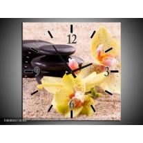 Wandklok op Canvas Orchidee | Kleur: Geel, Zwart, Wit | F004041C