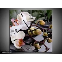 Wandklok op Canvas Orchidee | Kleur: Geel, Zwart, Wit | F004044C
