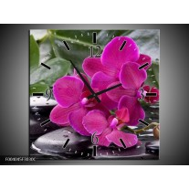 Wandklok op Canvas Orchidee | Kleur: Groen, Paars, Zwart | F004045C