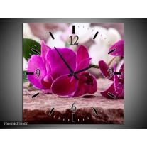 Wandklok op Canvas Orchidee | Kleur: Groen, Paars, Zwart | F004046C