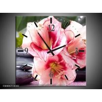 Wandklok op Canvas Bloem | Kleur: Roze, Wit, Groen | F004047C
