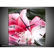 Wandklok op Canvas Bloem | Kleur: Roze, Wit, Groen | F004048C