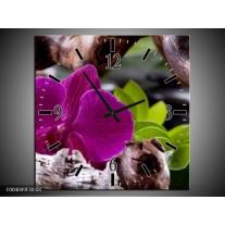 Wandklok op Canvas Bloem | Kleur: Paars, Groen, Bruin | F004049C
