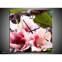 Wandklok op Canvas Bloem   Kleur: Wit, Roze, Groen   F004050C