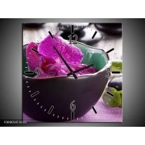 Wandklok op Canvas Orchidee | Kleur: Paars, Groen | F004054C