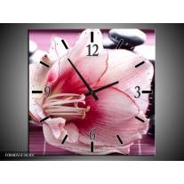 Wandklok op Canvas Bloem | Kleur: Wit, Roze, Groen | F004055C