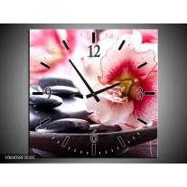 Wandklok op Canvas Bloem | Kleur: Wit, Roze, Zwart | F004058C