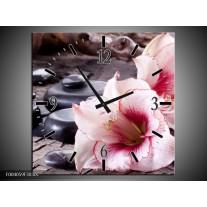 Wandklok op Canvas Bloem | Kleur: Wit, Roze, Zwart | F004059C