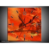 Wandklok op Canvas Roos | Kleur: Oranje, Rood, Geel | F004061C