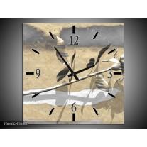 Wandklok op Canvas Roos | Kleur: Grijs, Wit, Geel | F004062C