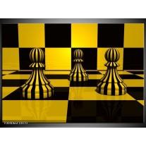 Glas schilderij Spel | Geel, Zwart, Wit