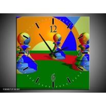 Wandklok op Canvas Spel | Kleur: Groen, Blauw, Rood | F004072C