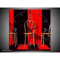 Wandklok op Canvas Stoelen | Kleur: Rood, Zwart, Geel | F004086C