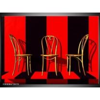 Glas schilderij Stoelen | Rood, Zwart, Geel
