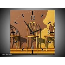 Wandklok op Canvas Stoelen | Kleur: Bruin, Geel | F004088C