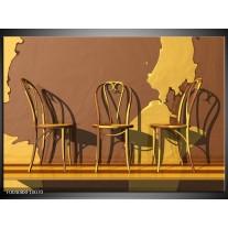 Glas schilderij Stoelen | Bruin, Geel