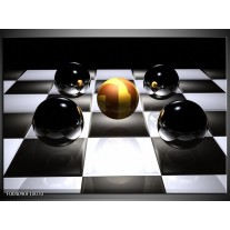 Foto canvas schilderij Ball | Wit, Zwart, Geel