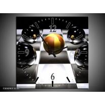 Wandklok op Canvas Ball | Kleur: Wit, Zwart, Geel | F004090C