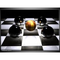 Glas schilderij Ball | Wit, Zwart, Geel