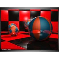 Foto canvas schilderij Cirkel | Rood, Zwart, Blauw