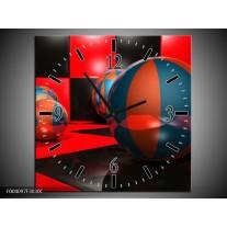 Wandklok op Canvas Cirkel | Kleur: Rood, Zwart, Blauw | F004097C