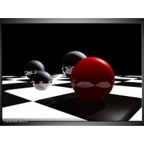 Glas schilderij Cirkel | Rood, Zwart, Wit