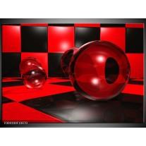 Foto canvas schilderij Cirkel | Rood, Zwart, Wit