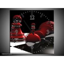 Wandklok op Canvas Abstract | Kleur: Rood, Zwart, Wit | F004102C