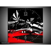 Wandklok op Canvas Abstract   Kleur: Zwart, Rood, Wit   F004109C