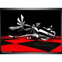 Glas schilderij Abstract   Zwart, Rood, Wit