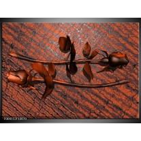 Glas schilderij Roos | Bruin, Grijs