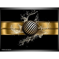 Foto canvas schilderij Abstract | Goud, Zwart, Wit