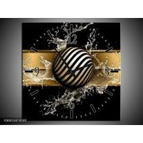 Wandklok op Canvas Abstract | Kleur: Goud, Zwart, Wit | F004116C