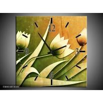 Wandklok op Canvas Tulp | Kleur: Groen, Geel, Wit | F004118C