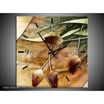 Wandklok op Canvas Tulp | Kleur: Groen, Geel, Wit | F004119C