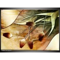Glas schilderij Tulp | Groen, Geel, Wit