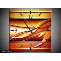 Wandklok op Canvas Abstract | Kleur: Geel, Bruin, Oranje | F004120C