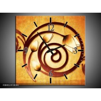 Wandklok op Canvas Tulp | Kleur: Geel, Bruin, Wit | F004122C