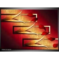 Glas schilderij Tulp | Rood, Geel, Zwart
