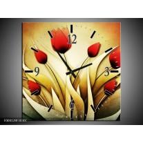 Wandklok op Canvas Tulp | Kleur: Geel, Wit, Rood | F004128C