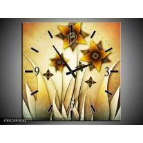 Wandklok op Canvas Bloem | Kleur: Geel, Bruin, Wit | F004129C