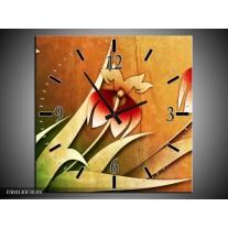 Wandklok op Canvas Bloem | Kleur: Rood, Geel, Groen | F004130C
