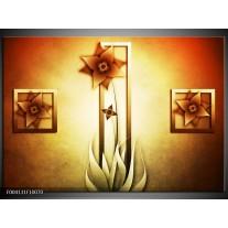 Foto canvas schilderij Bloem | Geel, Bruin, Wit
