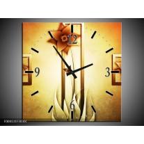 Wandklok op Canvas Bloem | Kleur: Geel, Bruin, Wit | F004131C