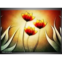 Glas schilderij Bloem | Groen, Rood, Geel